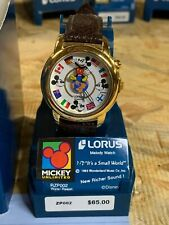 Disney/Lorus Mickey Mouse Musical Flags Globe Watch Unworn  READ