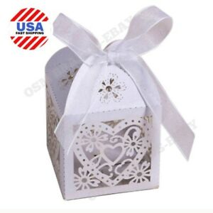 50x Cute HEART Candy Boxes Wedding/Shower Favor Party Gift Boxes Bags WHITE USA