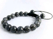 Men's Shamballa bracelet all 10mm Black Gray Labradorite stone beads