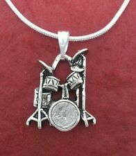 Drum Necklace New pewter Charm Pendant and Chain