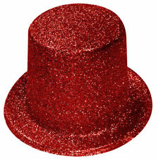 Red Glitter Top Hat - Hollywood - Street Party - Fancy Dress Accessories