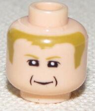LEGO FLESH MINIFIGURE HEADS WITH LIGHT BROWN HAIR GRANDPA FACE