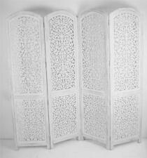 4 Panel Carved Indian Screen Wooden Screen Divider Kashmeri Jali 177x183cm