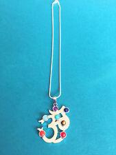 Om Symbol Seven 7 Chakra Gemstone Pendant Reiki Necklace Yoga Healing Jewelry