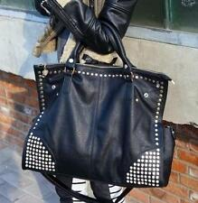 lady punk rock pu leather rivet crossbody shouder handbag messenger moto big bag