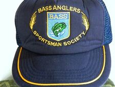 Vintage Bass Anglers Sportsman Society Blue Embroidered Snap Back Trucker Hat