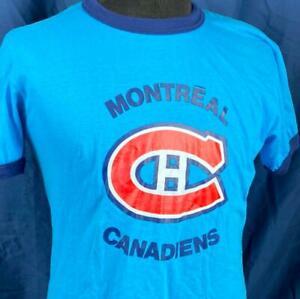 Montreal Canadiens Logo Men's Small Ringer T-Shirt Ice Hockey Canada Habs NHL