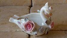 Vintage Lefton China Swan & Roses Ashtray Trinket Dish Hollywood Regency Style