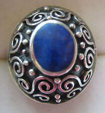 ESTATE BOLD STERLING SILVER ARTISAN RING SIZE 6 LAPIS LASULI HAND MADE 10.1 GR