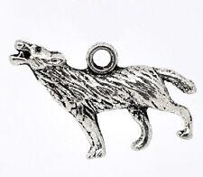 4 Pcs Antique Silver Wolf Charms Pendants 25x18mm LC1760