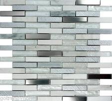 SAMPLE- White Glass Stainless Steel Natural Stone Mosaic Tile Kitchen Backsplash