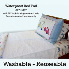 """Wet Stop Washable Waterproof Mattress Pad Protector with Tuck Wings (34""""x36"""")"""