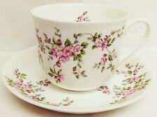 Pink Wild Roses Large Cup & Saucer Bone China Pink Floral Breakfast Set Decor UK