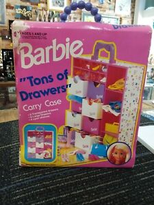 "BARBIE ""TONS OF DRAWERS"" CARRY CASE NO. 12220 MATTEL 1994"