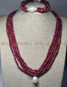 NATURAL 2x4mm RUBY FACETED BEADS NECKLACE BRECELET SET SHELL PEARL PENDANT AA
