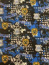 Police 100% Cotton Fabric New 1/2 Yard