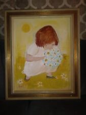 Edith Ferullo 1969 Original Signed Oil Painting of Girl Picking Daisies.