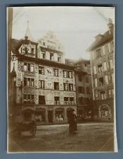 Suisse, Lucerne, Vieilles Maisons  Vintage citrate print. Vintage Switzerland
