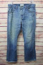 American Eagle Mens Distressed Bootcut Jeans Size 34X 34 Blue Denim