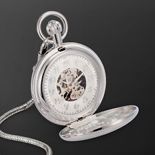 Numeral Skeleton Design Fashion Dress Mechanical Pocket Watch Silver Case Arabic