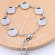 5PCS Bracelet Base Trays Stainless Steel 12mm Cabochon Setting Jewerly Findings