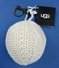 UGG Keychain Classic Cable Knit Pompom Purse/Bag Charm Snow White