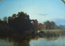 George Augustus Williams (1814-1901). 'The Old Moat' romantic oil on canvas.