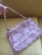 Zara Tassle/fringe Nude Pink Genuine Leather Large Bag(detachable Strap,clutch)