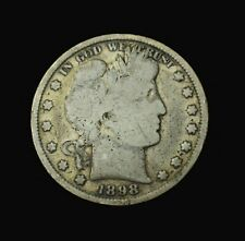 1898-Barber Half Dollar~G~Good~90% Silver~Combined Shipping~