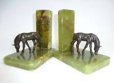 Buchstützen um 1900 Wien Bronze Onyx Pferd