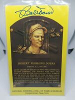 BOB DOERR SIGNED HALL OF FAME COOPERSTOWN PLAQUE POSTCARD AUTOGRAPH