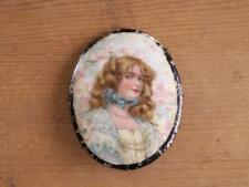 HUGE antique Victorian Portrait Pin blonde girl chlld blue bow summer LoVE LoVE