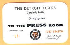 VINTAGE! 1963 DETROIT TIGERS PRESS PASS-AL KALINE/NORM CASH/DENNY MCLAIN