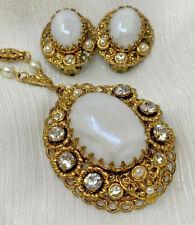 WEST GERMANY FILIGREE MOONSTONE GLASS RHINESTONE PEARL NECKLACE & Earrings 19418