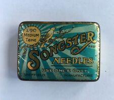 Vintage Songster Gramophone Needle Tin with Needles Medium Tone Blue