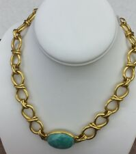 Julie Vos 24k Gold Plate Link Necklace w/ Lgt Turquoise Stone NWT $498 now $350