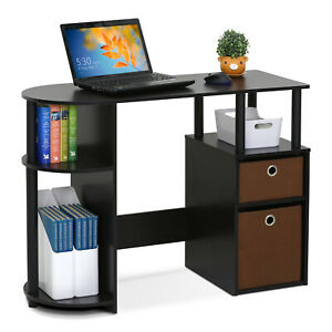 Office Computer Desk with 3 Shelves and 2 Drawers - Black