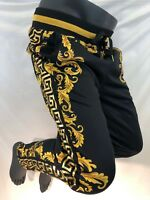 Mens Victorious Casual TRACK PANTS Urban BLACK and GOLD CREST DESIGN TR536 NWT