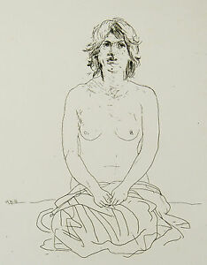 Jacob HILLENIUS (1934-1999) Engraving Naked Erotic Young Woman IN Half Holland