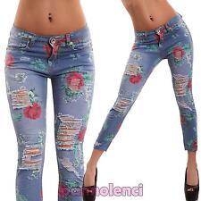 Jeans donna pantaloni aderenti fiori slim skinny STRAPPI floreale nuovi M11149