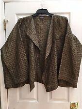 Eskandar Size 1 1x 2x Brown Basketweave Silk Waterfall Jacket