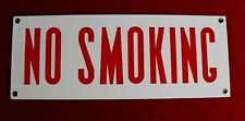 """VINTAGE PORCELAIN """"NO SMOKING"""" SIGN, GAS STATION, OIL, VERY NICE, HEAVY"""