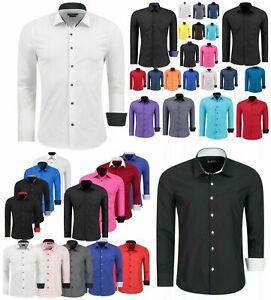 Herren Hemd Hemden Business Hochzeit Freizeit Slim Fit Bügelleicht WEISS 1122