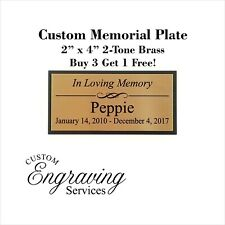 PET MEMORIAL PLATE - Beautiful Two Tone With Personalized Solid Brass Plate