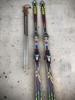 VOLKI CARVER XT 191cm Downhill Skis w/salomon 900 CARBON Bindings, kERMA POLES