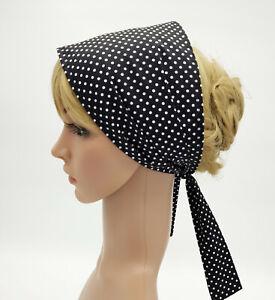 Wide cotton hair bandanna, self tie head scarf, summer headband, skinny hair tie