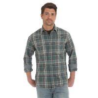 Wrangler Retro Men's Hunter Green & Tan Plaid Snap Up Western Shirt MVR414M