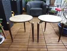 2 MID CENTURY  MODERN  SPIDER L EG SIDE TABLES W FAUX MOTHER OF PEARL TOPS