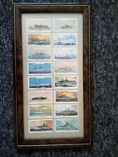 FRAMED 16 CIGARETTE CARDS BATTLESHIPS