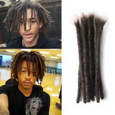 "Short 8"" Dark Brown Dreadlocks for Men 100% Human Hair Crochet Braided SE Dreads"